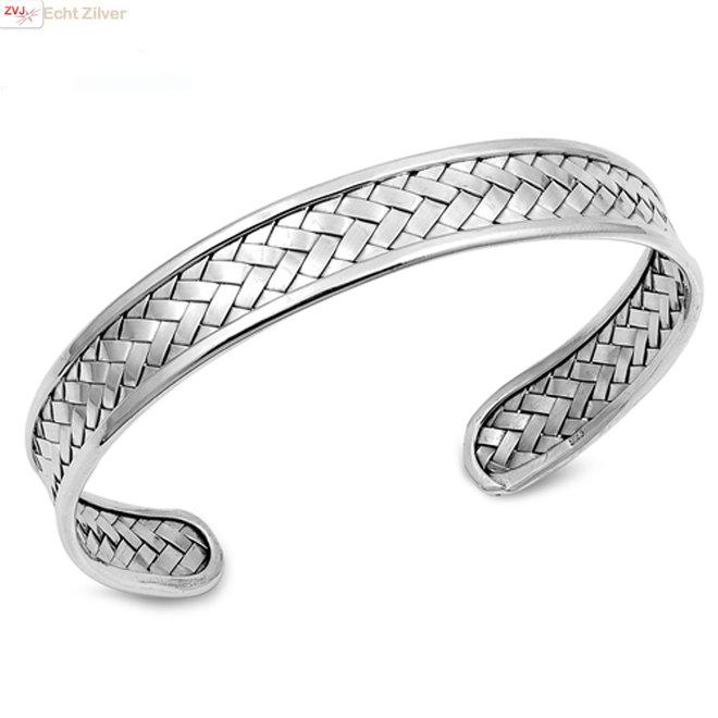 Zilveren design vlecht klemarmband