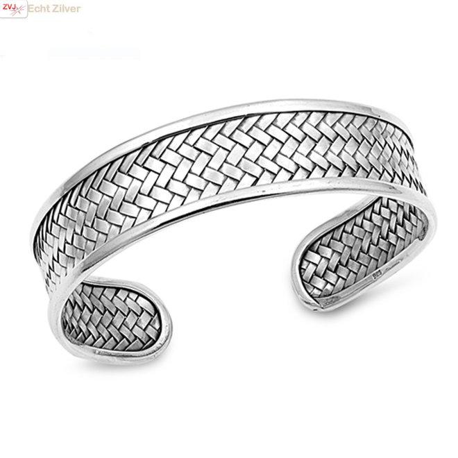 Zilveren design vlecht klemarmband 15 mm breed