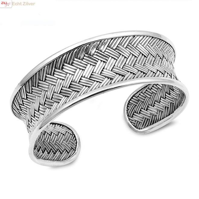 Zilveren design vlecht klemarmband 25 mm