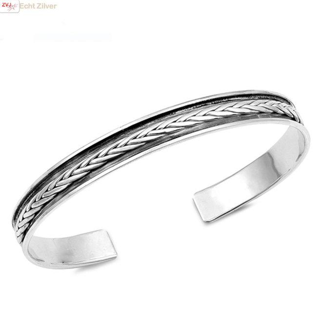 Zilveren design klemarmband vlechtmotief