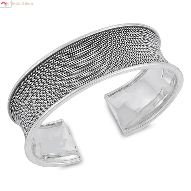 Zilveren design bangle klemarmband 20 mm