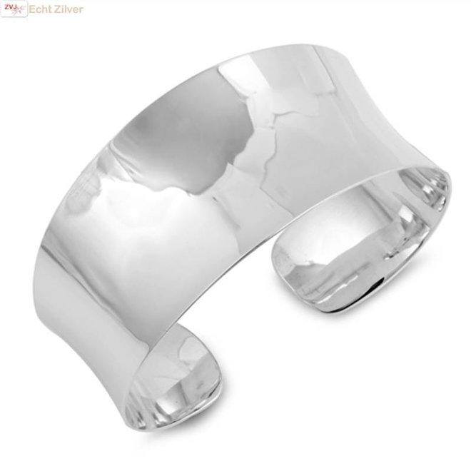 Zilveren brede hoogglans klemarmband