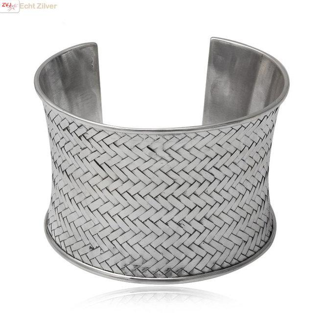 Zilveren design vlecht klemarmband 48 mm breed