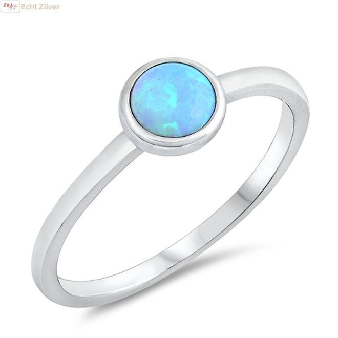 Zilveren blauwe ronde lab opaal ring