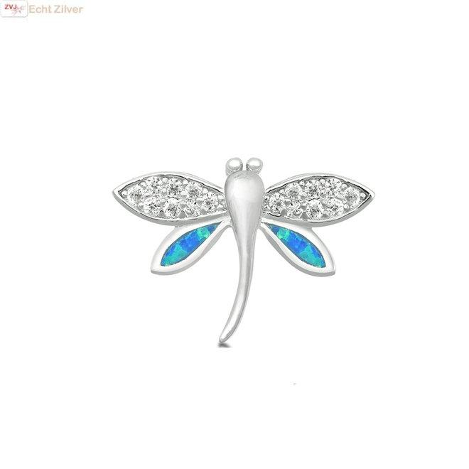 Zilveren vuurvlieg blauwe opaal