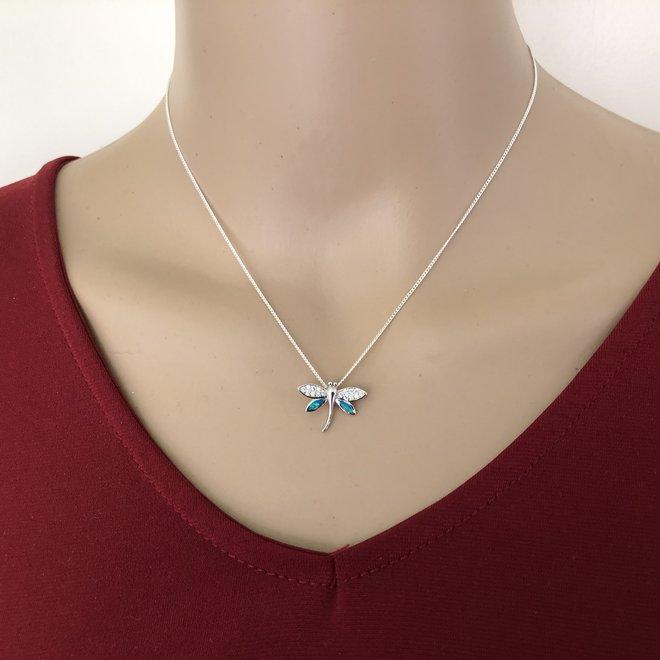 Zilveren vuurvlieg blauwe opaal witte zirkoon kettinghanger