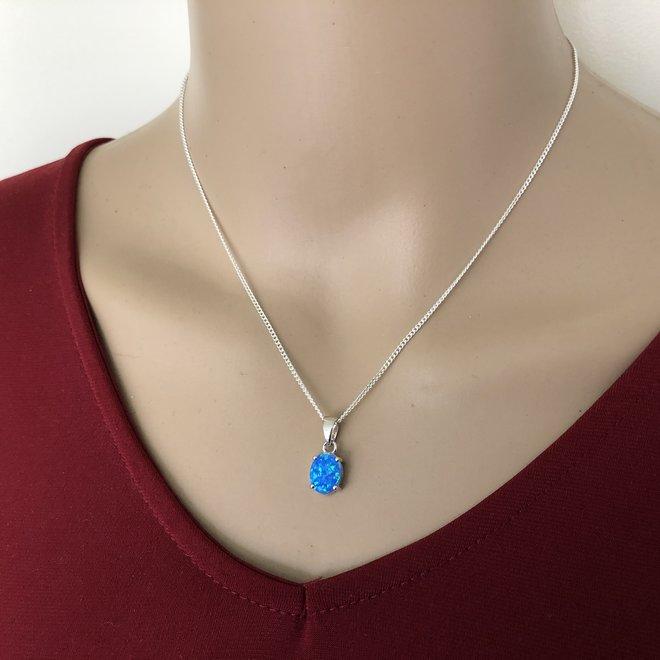 Zilveren ovale blauwe lab opaal kettinghanger
