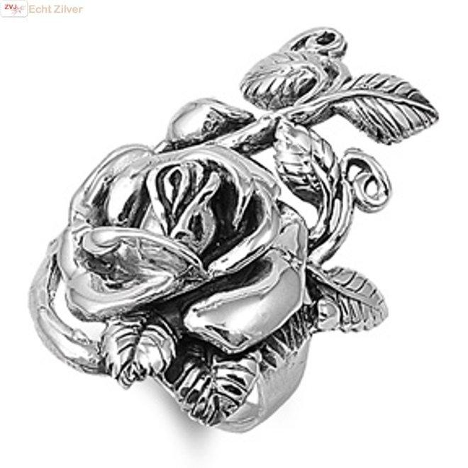 Zilveren grote roos ring