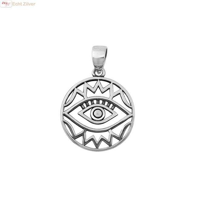 Zilveren alziend oog ronde hanger