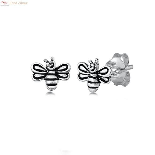 Zilveren bumble bee oorstekers