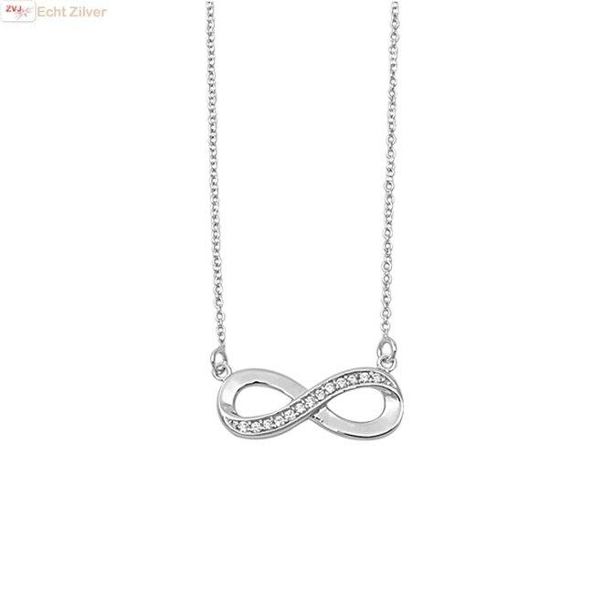 ZIlveren infinity witte zirkoon ketting