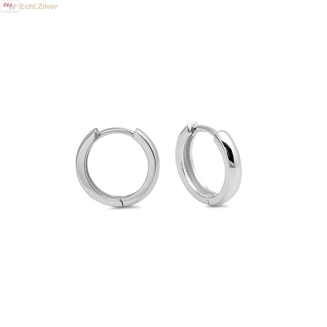 Zilveren huggie hoops 3x16 mm rhodium