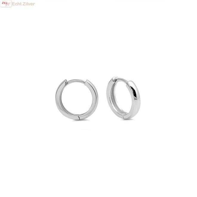 Zilveren huggie hoops 3x14 mm rhodium