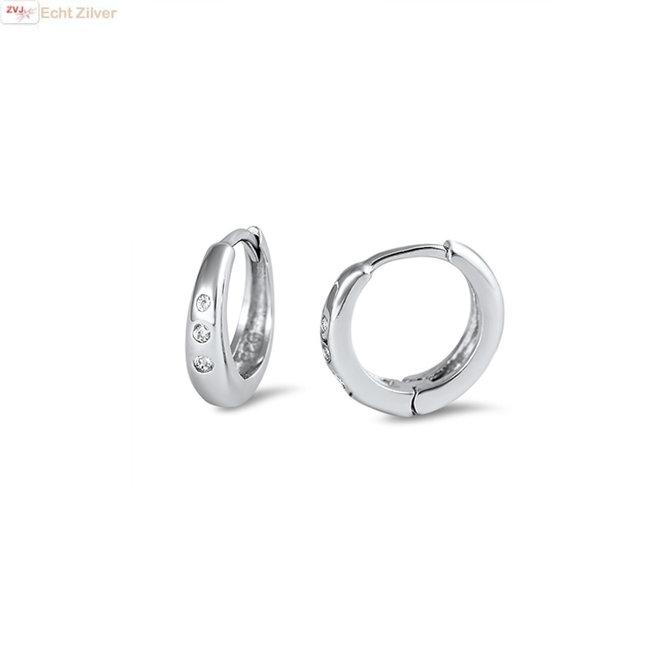 Zilveren huggie hoops 3 sparkles