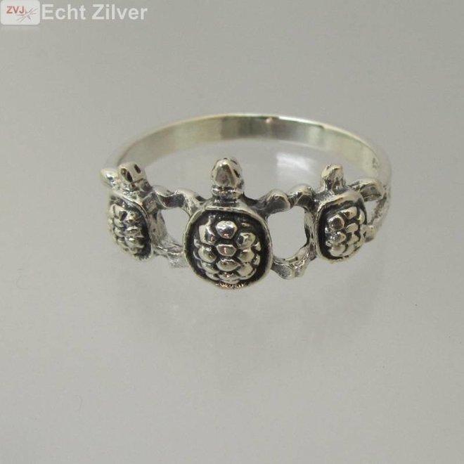Zilveren schildpad turtle ring