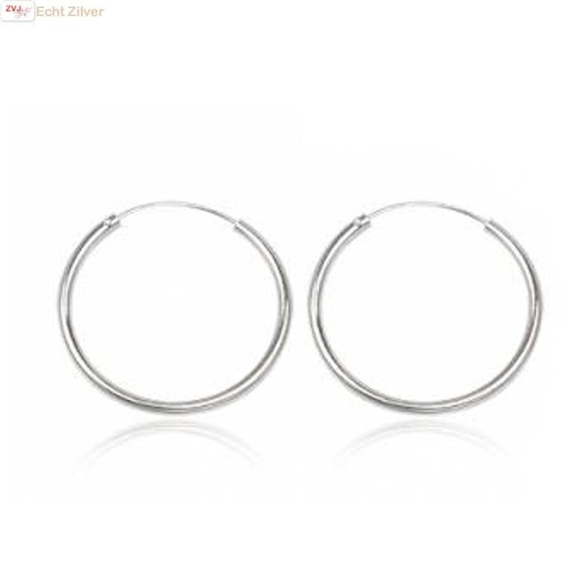 Zilveren creolen oorringen groot 30 mm 1.5 mm
