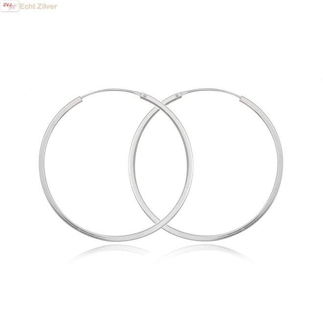 Zilveren grote oorringen 50 mm 2 mm vierkante buis