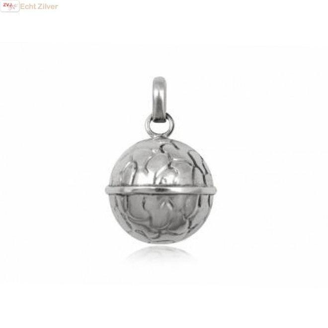Zilveren bola bal met belletje