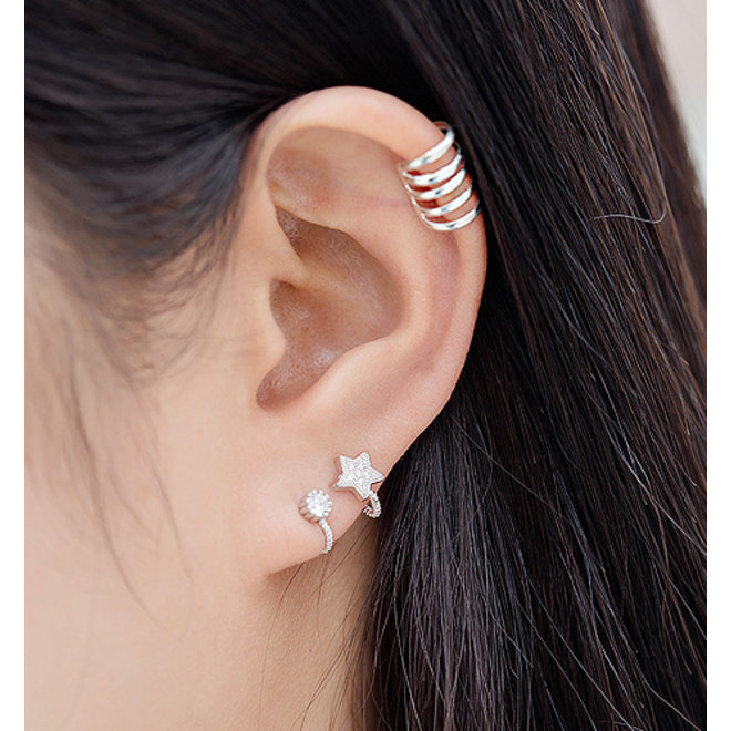 Zilveren ear cuff klem oorbellen