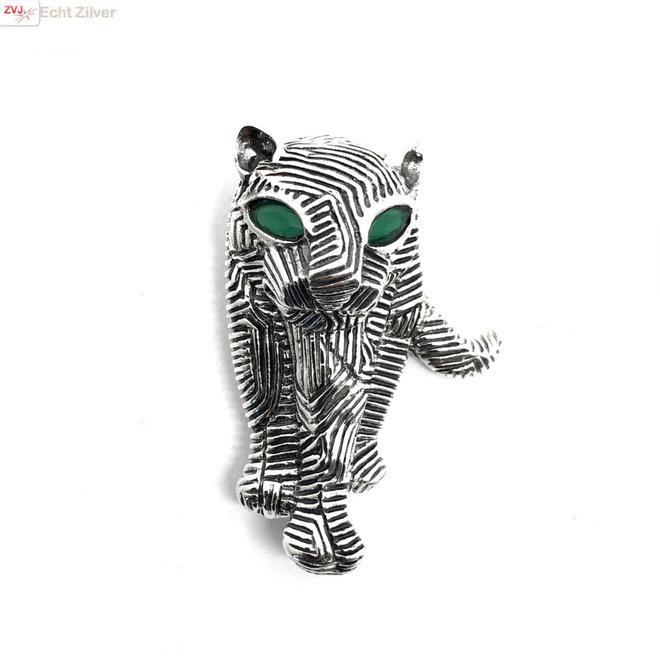 Zilveren tijger broche geoxideerd met groene zirkoon ogen