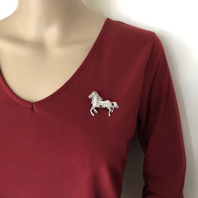925 Zilveren dressuur paard broche