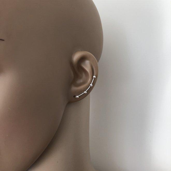 Zilveren 4 bolletjes oorklimmers