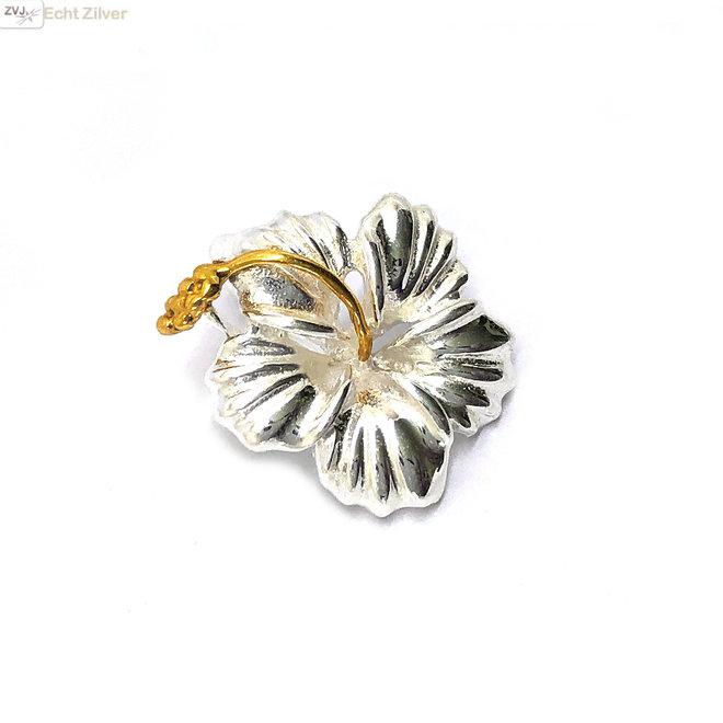 Zilveren hibiscus kettinghanger