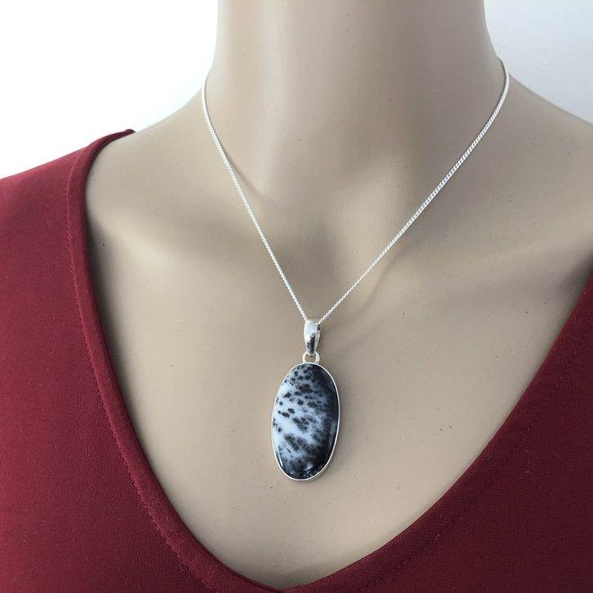 925 zilveren Zilveren dendriet opaal ovaal kettinghanger