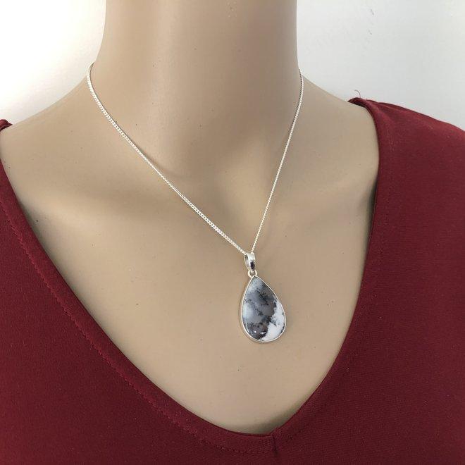 925 Zilveren dendriet opaal druppel kettinghanger