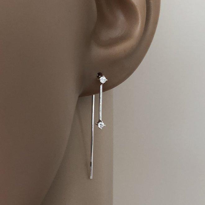 925 Zilveren tiny stars oorhangers