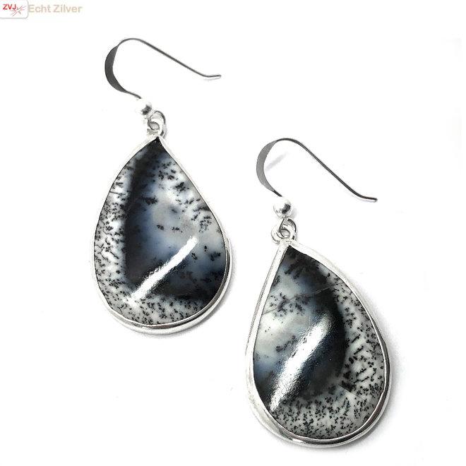 Zilveren dendriet opaal oorhangers