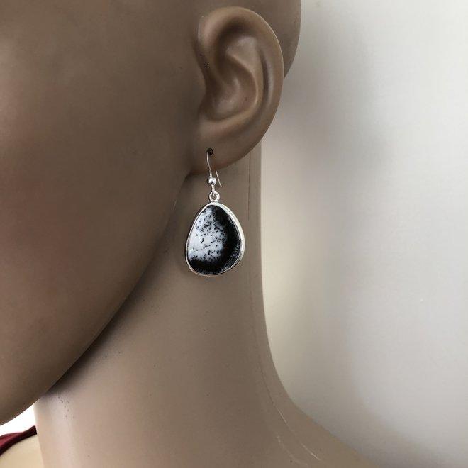 Zilveren dendriet opaal design oorhangers