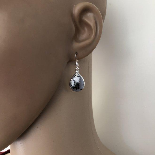 Zilveren dendriet opaal oorbellen hangers