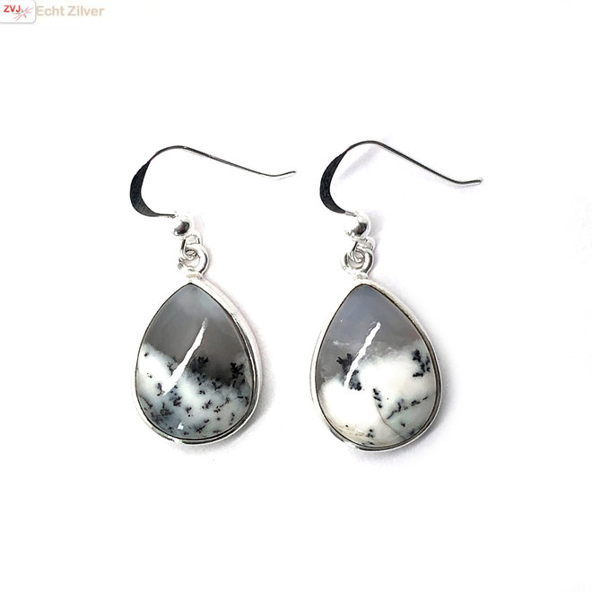Zilveren druppel dendriet opaal oorbellen