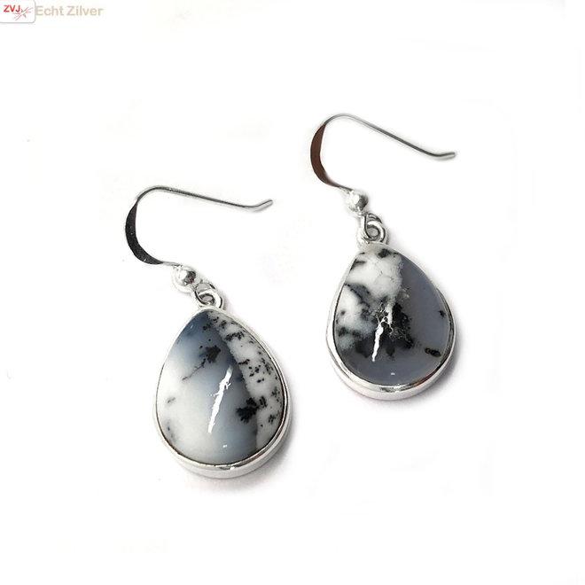 Zilveren dendriet opaal oorbellen