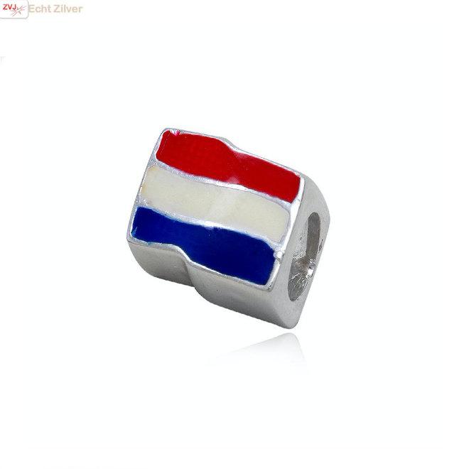 Zilveren Nederlandse vlag bead