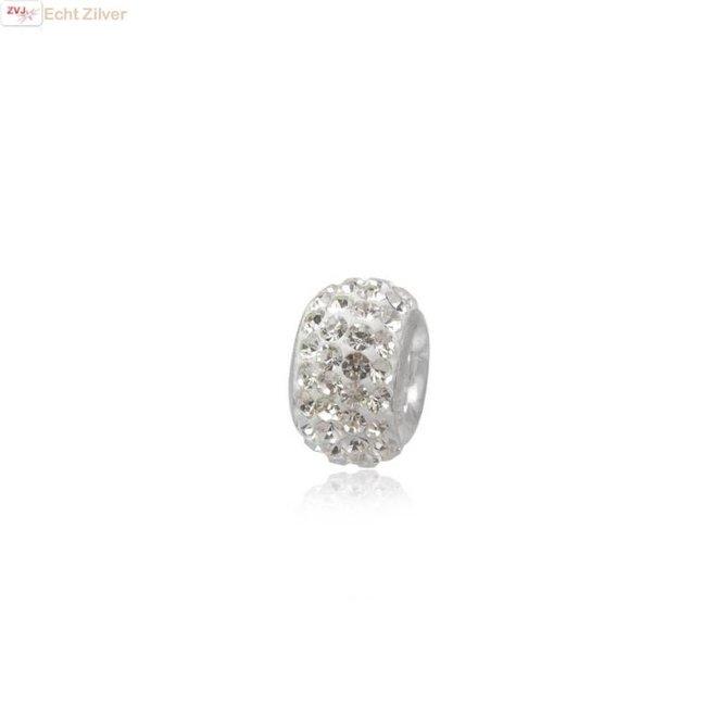 Zilveren charm bedel met witte kristal, bling