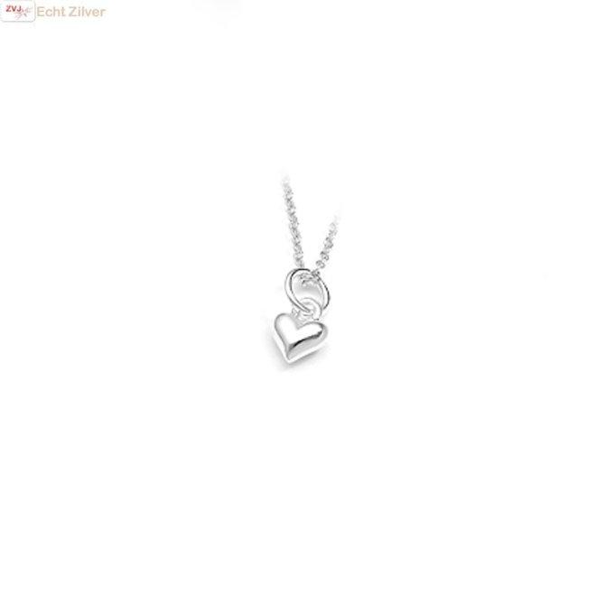 925 Zilveren klein bol hartje hanger