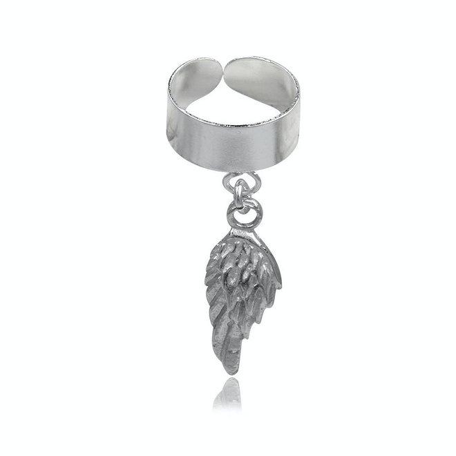 Zilveren oor cuff vleugel