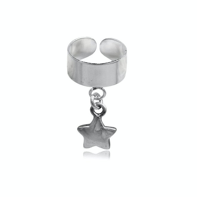 Zilveren oor cuff ster