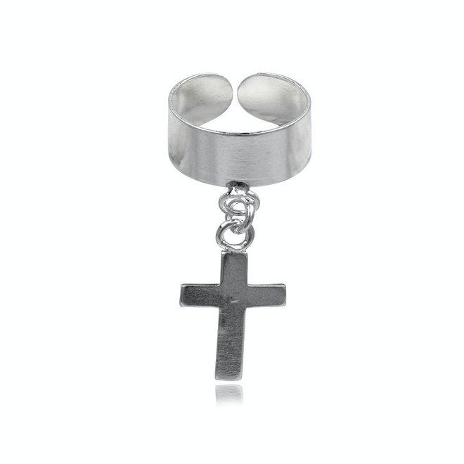 Zilveren oor cuff kruis