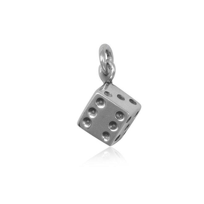 Zilveren dobbelsteen kettinghanger