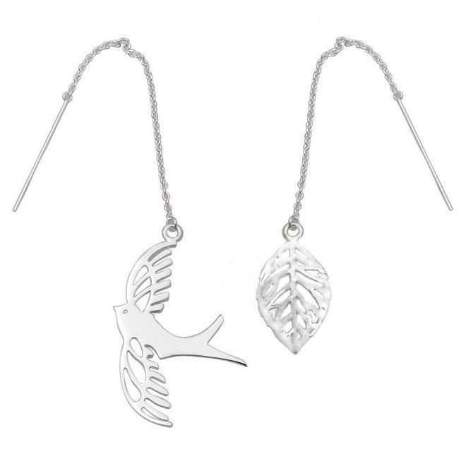 Zilveren vogel en blad doortrekoorbellen
