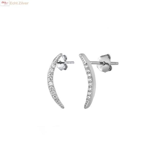 Zilveren gebogen staaf zirkoon oorstekers