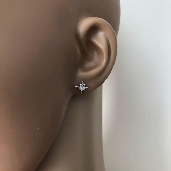 Zilveren twinkle star studs