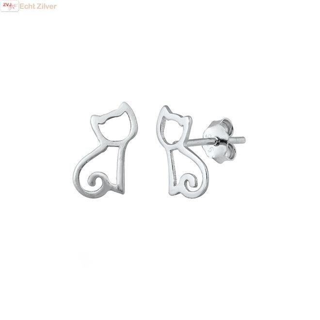 Zilveren poes oorstekers
