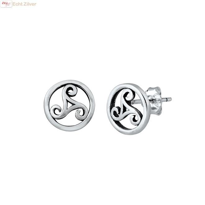 925 Zilveren Keltische triskelion oorstekers