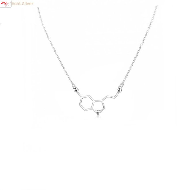 Zilveren serotonine molecule ketting