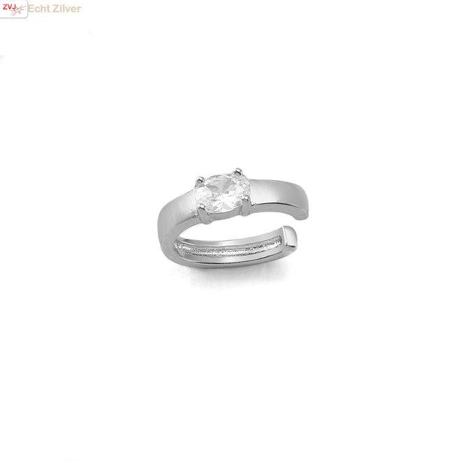 925 zilveren rhodium ear cuff met witte zirkoon