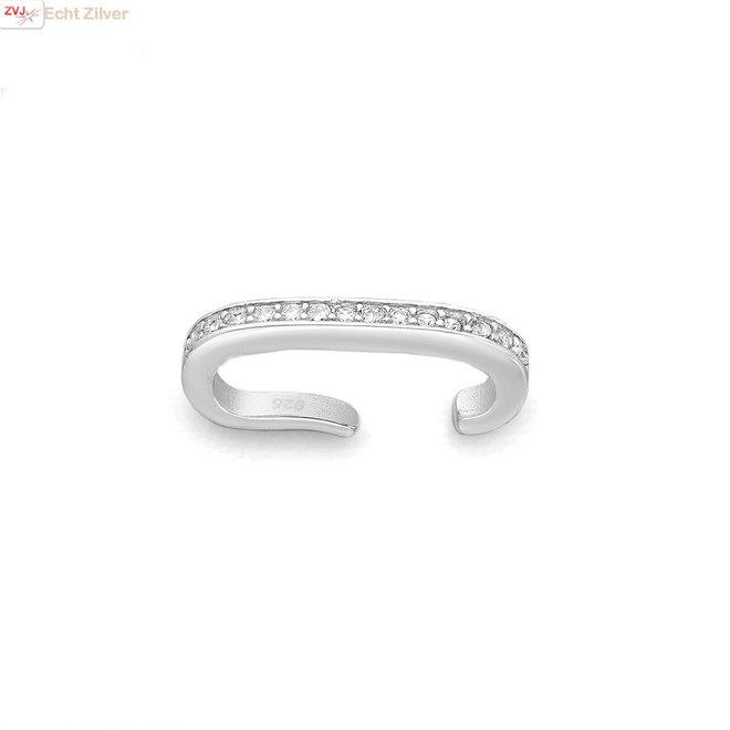 Zilveren brede ear cuff pave sparkle